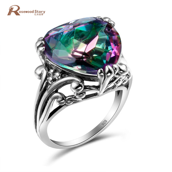 Romantic Heart Shape 925 Sterling Silver Ring Rainbow Mystic Topaz Austrian Crystal Ring For Women Vintage Jewelry Accessories