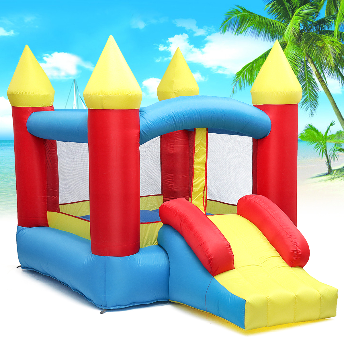 1Set Bouncy Castle Outdoor Indoor Universal Trampoline Inflatable Castle Playing Games for Kids Gift aladdin castle style inflatable trampoline for kids playing and praying
