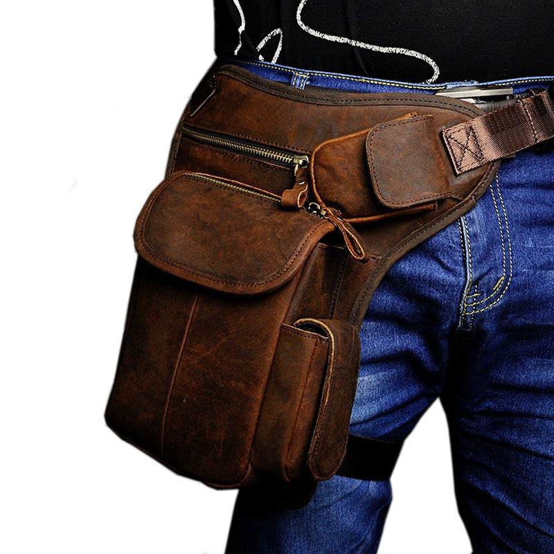 купить New Men's Cowhide Geunine Leather Drop Leg Bag Fanny Waist Belt Hip Bum Travel Motorcycle Riding Vintage Messenger Shoulder Pack недорого