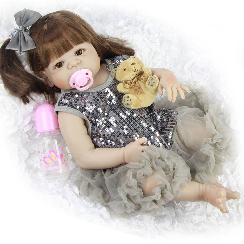 """57 """"새로운 디자인 사랑스러운 새 태어난 아기 소녀 인형 장난감 23'' 현실적인 인형 인형 실리콘 비닐 전신 살아있는 bebe boneca reborns-에서인형부터 완구 & 취미 의  그룹 1"""