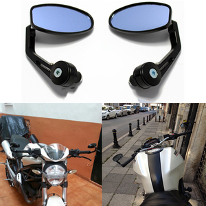 "evomosa Black 7/8"" Handlebar End Mirrors Oval Custom Classic Side Mirrors Chopper Bobber Cafe Racer ATV Quad Rearview Mirrors(China)"