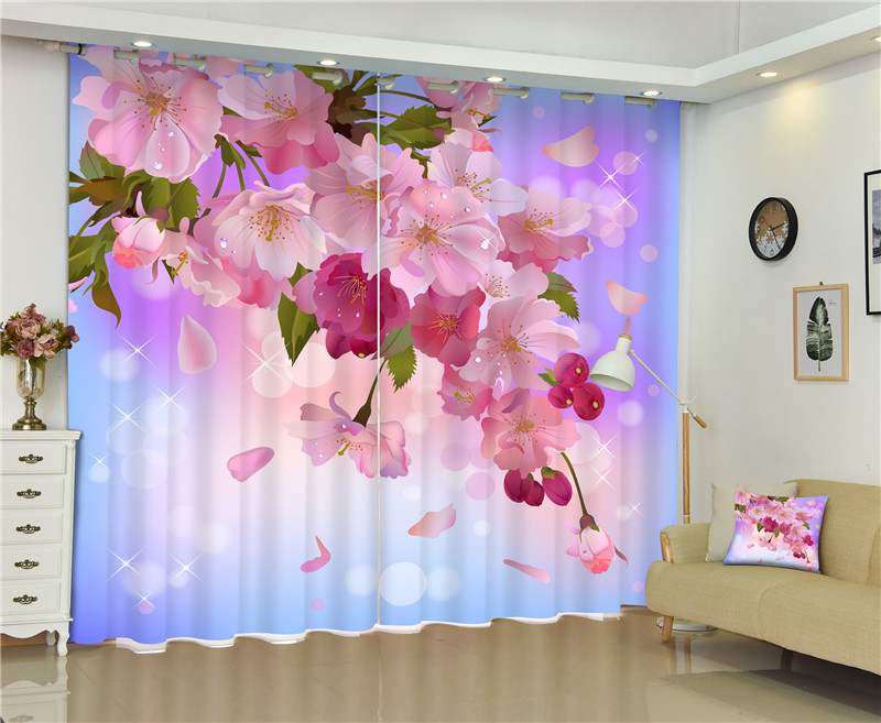 2017 Cherry Blossoms Photo Blackout Window Drapes Luxury 3D Curtains For Living Room Bed Room Office Hotel Home Wall Tapestry