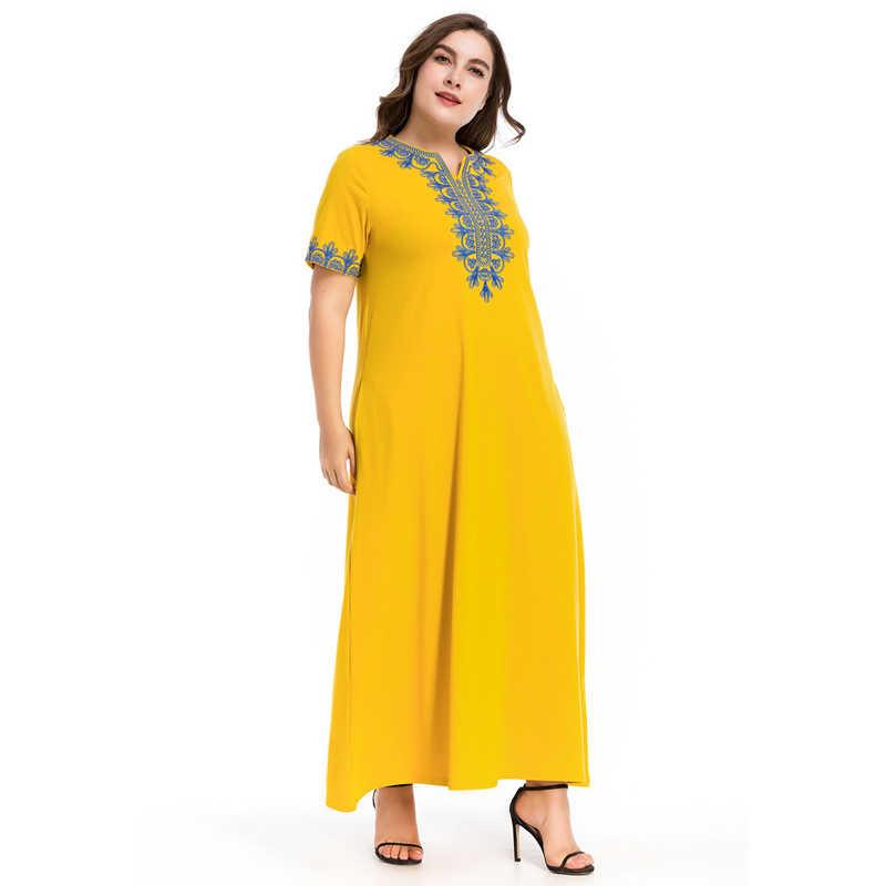 ... MISSJOY Cotton Caftans Turkish Marocain Embroidery Robe Muslim Clothes  Islamic Clothing Dress Abaya Maxi Dress Women ... f6f881629f32
