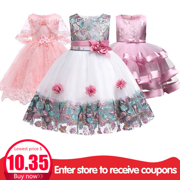 259a22ce9f5 Children s dress 2018 new 3 4 5 6 7 8 years old lace color matching girls  princess party dress summer baby tutu clothing