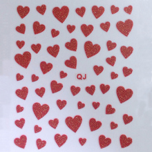 1 Sheet Sweet Heart 3D Nail Sticker Silver Gold Black Sexy Red Pink Decal With Glitter Powder