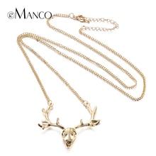EManco Moda Chic Encanto Oro Deer Head Collares Largos para Las Mujeres Forma Animal Lindo de la Joyería de Moda Regalos de Navidad