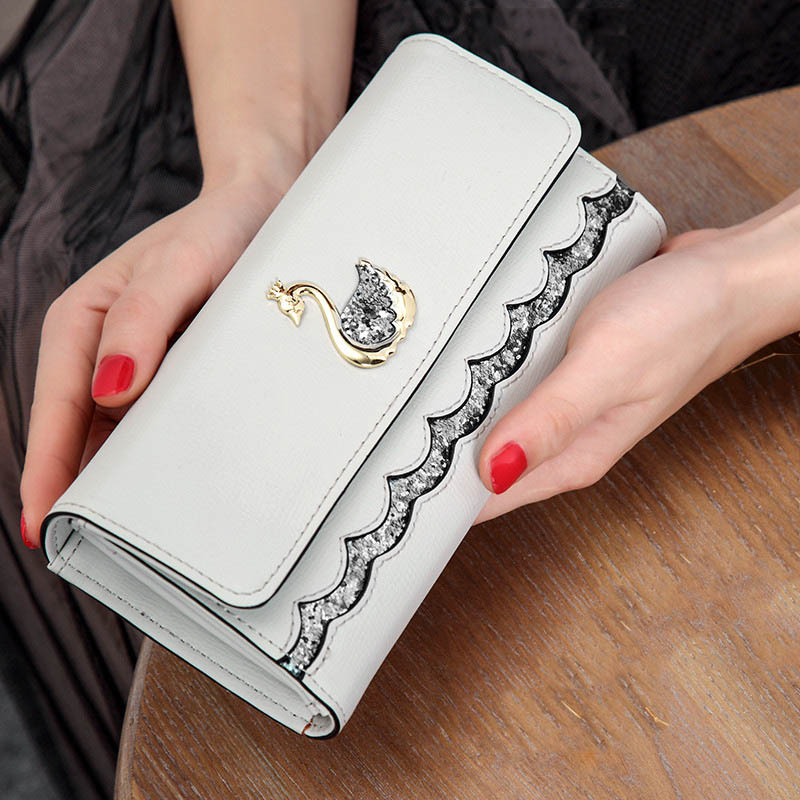 Brand Fashion Women Wallet Swan Sequin Lovely Long Purse Womens Wallets Card Holder High Quality PU Leather Phone Female Clutch