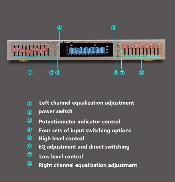 EQ665 hifi Dual 10 BAND Fever Home EQ Equalizer Stereo Treble Alto bass adjustment