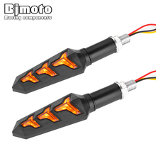 Bjmoto Waterproof 10mm Motorcycle Sequential LED Turn Signals Light Flowing Water Flashing Arrow Lights Blinker Indicators Lamp
