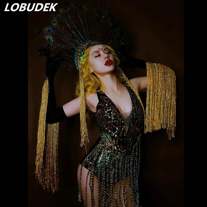 Cristaux scintillants body paillettes noires glands combinaison femme discothèque vêtements danse tenue Bar fête DS Performance Costume