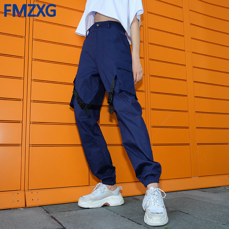 Streetwear High Waist Women Spliced Cargo Pants Capris Casual Loose Blue Sweatpants Punk Rock Long Trousers with Plastic Buckle