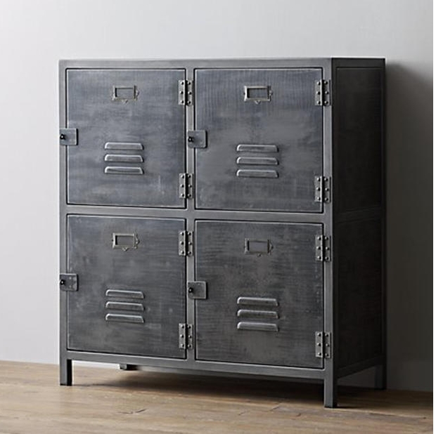American Country Wrought Iron Metal Storage Cabinet