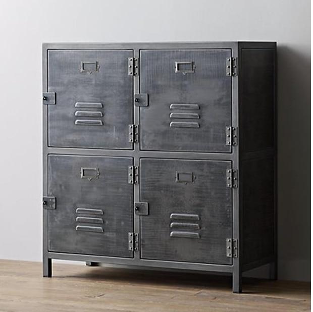 American Country Wrought Iron Metal Storage Cabinet Bookcase File Lockers Retro Tiegui