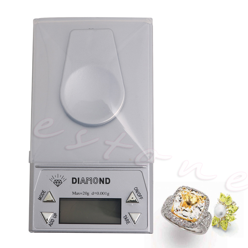 Portable 20g x 0.001g LCD Digital Gram Pocket Diamond Jewelry Scale Weight Hot 20g 0 001g lcd digital milligram gram pocket scale mini electronic diamond jewelry scales precise carat weight balance with box