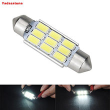 Luz de lectura LED para interiores, lámpara blanca de doble punta, 36mm, 10 x 9SMD, 5630
