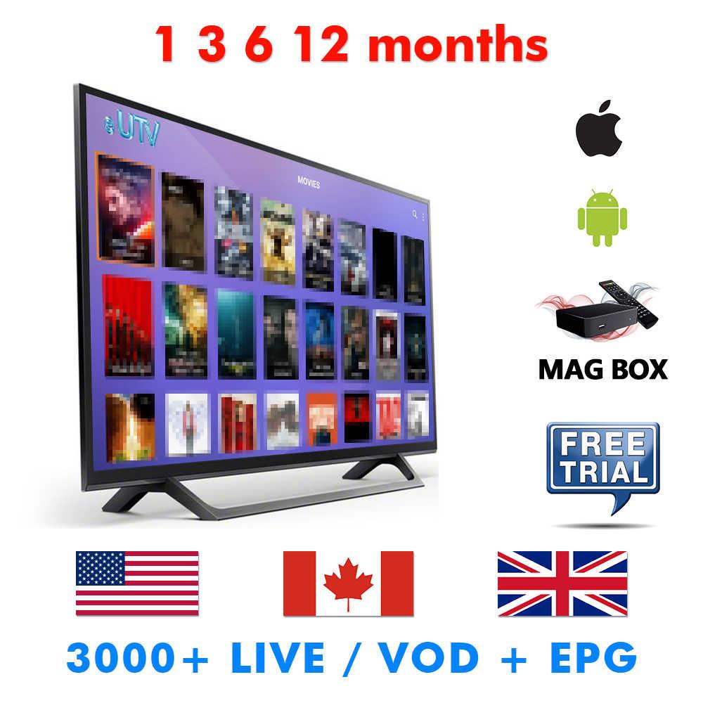 Iptv Американский США Великобритания Канада взрослый 1 3 6 12 месяцев Iptv время подписки для Android Box Ios устройства Mag Box пробный