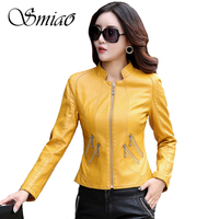 Smiao 2017 Fashion Spring Autumn Motorcycle Women Faux Leather Jackets Zippers PU Coat Female Plus Size