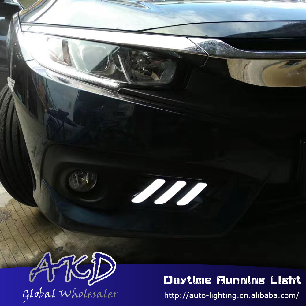 AKD Car Styling for Honda Civic 2016-2017 LED DRL for New Civic Turning Led Drl Running Light Fog Light Parking Accessories akd car styling for kia sportage r drl 2014 new sportager led drl korea design led running light fog light parking accessories