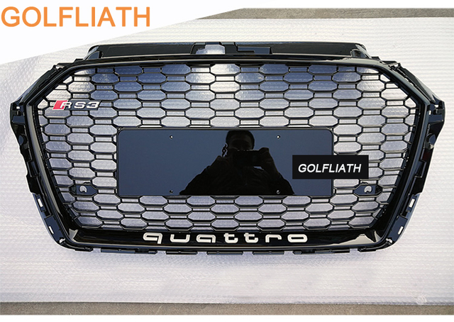 Golfliath RS3 Chrome Black Frame Front Grille Racing Grills Honeycomb  Quattro Grill For Audi A3