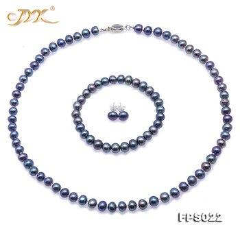 JYX Elegante Perle Halskette Set magie blau Ziemlich 7-8mm Süßwasser Perle Halskette Armband Ohrringe Set