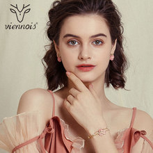 Viennois Fashion Rose Gold Color Flower Stud Earrings for Women Rhinestone Earrings Trendy Jewelry Accessories