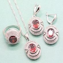 EIOLZJ, красный полудрагоценный камень, Стерлинговое серебро 925, ювелирные наборы для женщин, ожерелье, кольцо, висячие серьги, Ювелирная коробка