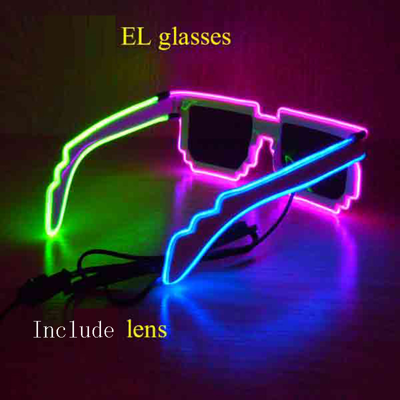10pcs/lot Shutter Light Up Glow El Wire Glasses EDM EDC Rave Party ...