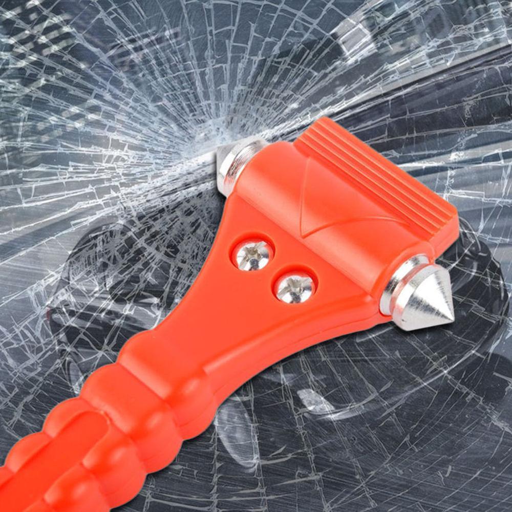 2 In 1 Mini Car Safety Hammer Life Saving Escape Emergency Hamer Seat Belt Cutter Window Glass Breaker Car Rescue Red Hamer