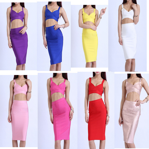 yellow 2 piece bandage dress manufacturer