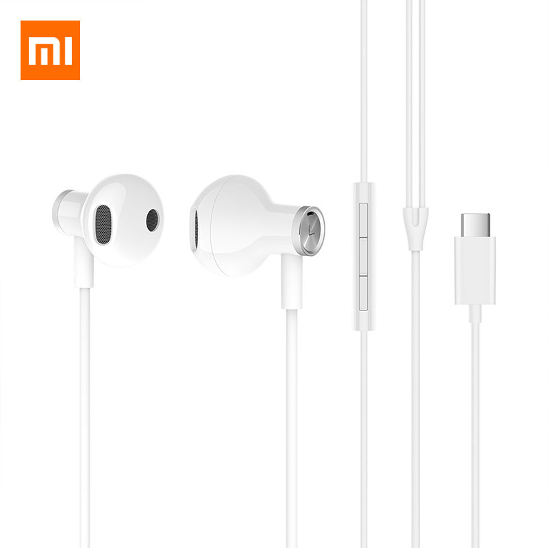 Xiaomi Original Authentic Product Mi Hybrid DC Half In Ear Earphone Type C Plug with Mic Dual Driver Headset Wired Control