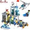 312PCS 4in1 Police Station Prison Figures Classic Bricks Compatible Legoed City Coast Guard Enlighten Building Blocks Kids Toys
