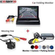 Koorinwoo Rivelatore Auto Mobile linea macchina fotografica di retrovisione Sensore di Parcheggio 4 Reverse Radar Monitor parktronic Cicalino Libera La Nave