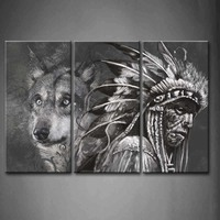 Framed Wall Art Pictures Wolf Indians Canvas Print Artwork Animal Modern Posters With Wooden Frames For Living Room