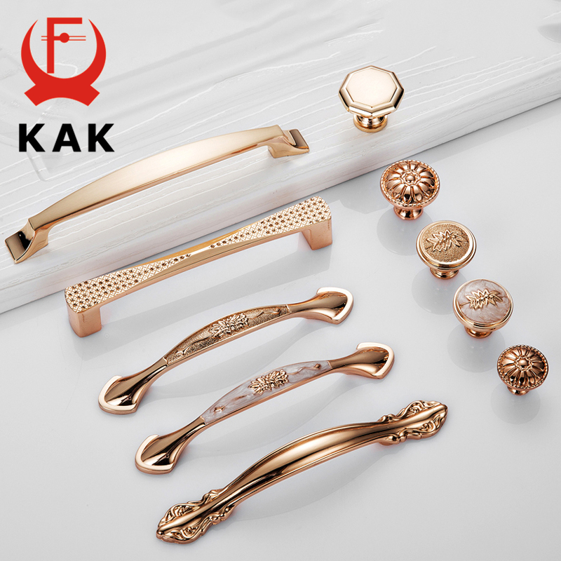 KAK Champagne Gold Door Handles Zinc Alloy Cabinet Handle Drawer Knobs European Wardrobe Pulls Kitchen Handle Furniture Hardware