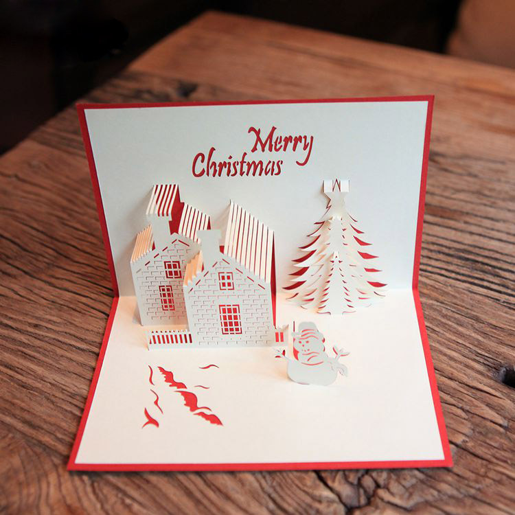 Red Christmas Castle 3D laser cut pop up paper handmade postcards ...