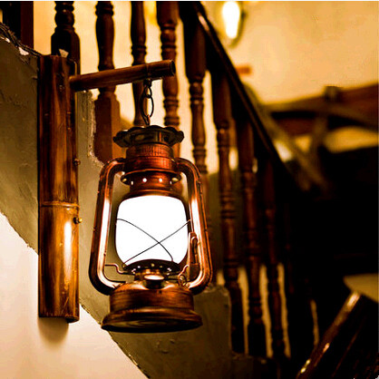 ФОТО American rural nostalgic classic iron wall Lamps European old-fashioned mysterious lantern for vestibule&porch&stairs LDK016