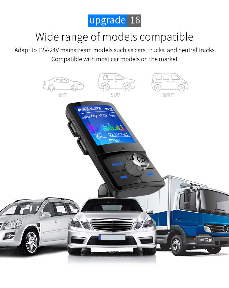 BC45 Bluetooth 4.2 chính hãng Xe MP3 người chơi Bộ Phát FM AUX Thiết Bị Thu Âm Thanh Xe Hơi USB đa Ngôn ngữ Hỗ Trợ Thẻ TF /Đĩa U