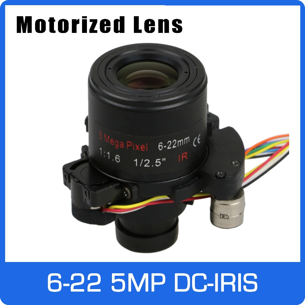 Motor 5Megapixel Varifocal Lens 6 22mm D14 DC IRIS Long Distance View With Motorized Zoom and Focus For 1080P/5MP AHD/IP Camera|CCTV Parts| |  - title=
