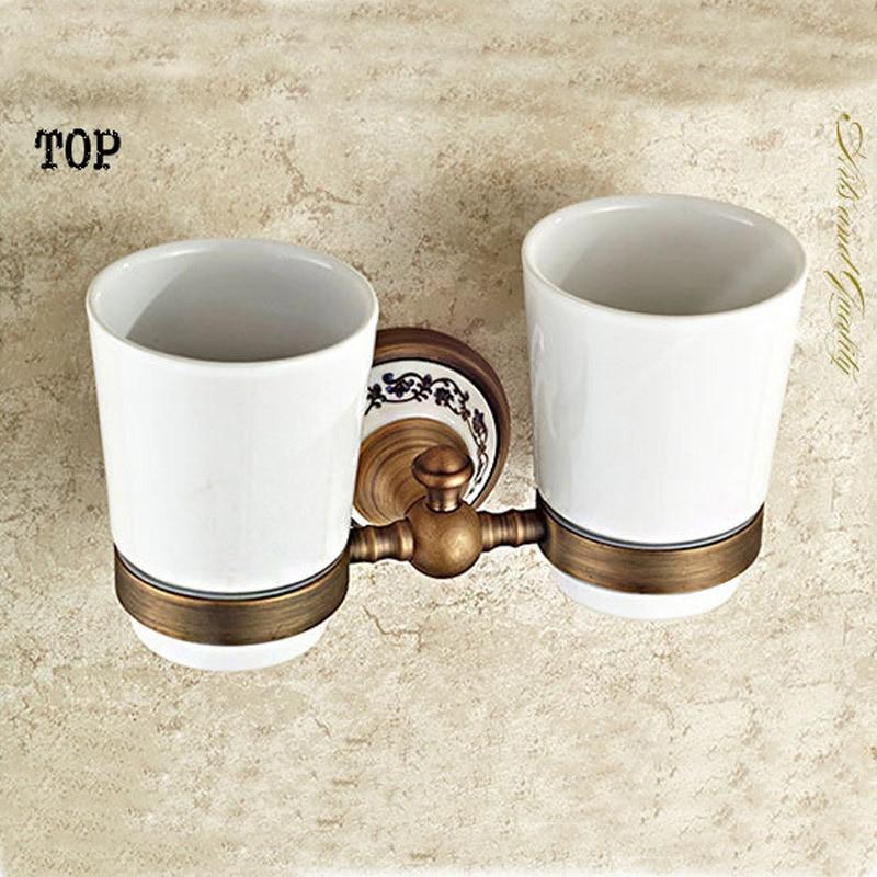 Brass antique porcelain double tumbler tumbler cup holder for Bathroom ware