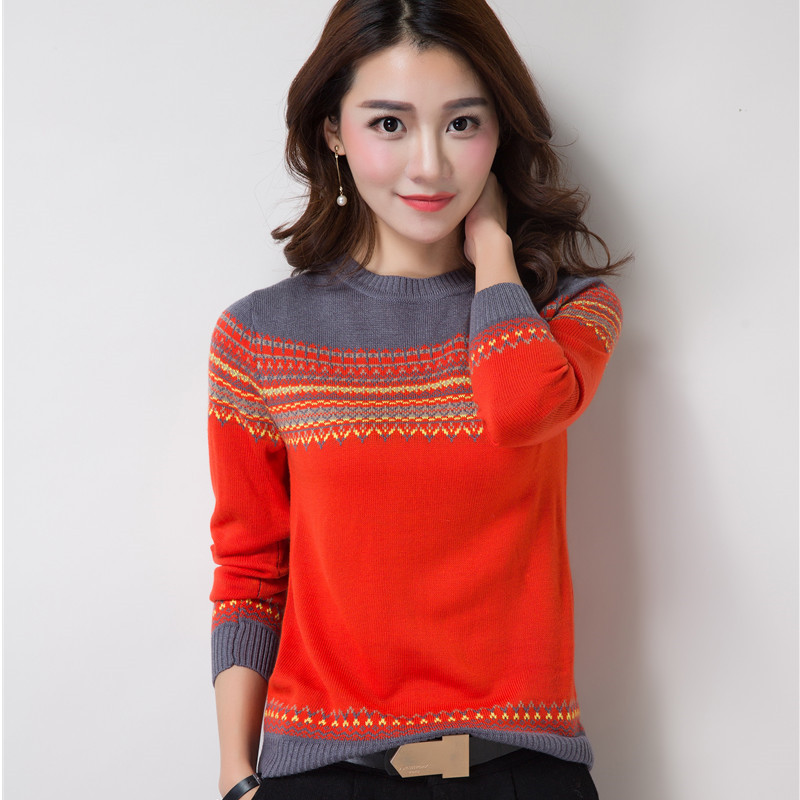 Women Pullover Knitted Sweater Long Sleeve Autumn Loose Pattern Short Sweater Pull Casual Ladies Jumper Tops Large Size 3XL L55
