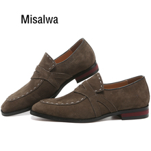 Misalwa 38-48 Casual Suede Men Oxford Dress Shoes Pointed Toe Mens Formal Shoe Khaki Elegant Simple Suit Gentleman Loafers Flats criss cross pointed toe suede flats