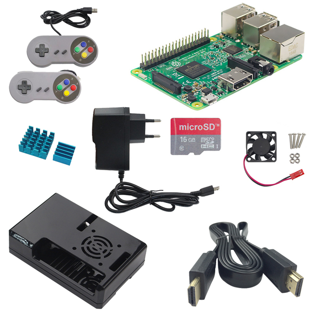 US $57 62  Raspberry Pi 3 Model B+ABS Case+Power Adapter+HDMI Cable+Cooling  Fan+8G Class 10 SD Card+Aluminum Heat Sink+Gamepad for RPI 3-in Demo Board