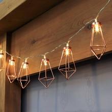 Retro Iron Metal Diamond LED Fairy String Lights Xmas Holiday Wedding Party Home Decoration 10 Leds Lantern Lamps