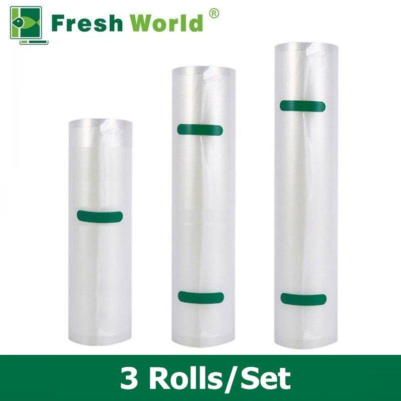 Vacuum Sealer Borse Rotolo Per La Conservazione Degli Alimenti Sottovuoto Macchina Di Sigillamento di Imballaggio BPA-free 3 Rolls/set