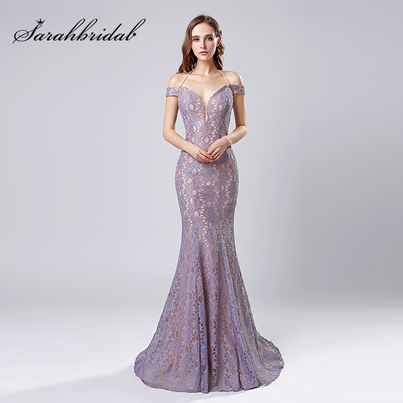 Sexy Off the Shoulder Prom   Evening     Dresses   2018 Cheap Lace Long Mermaid   Evening     Dress   Halter V Neck Pageant Party Gowns OL575