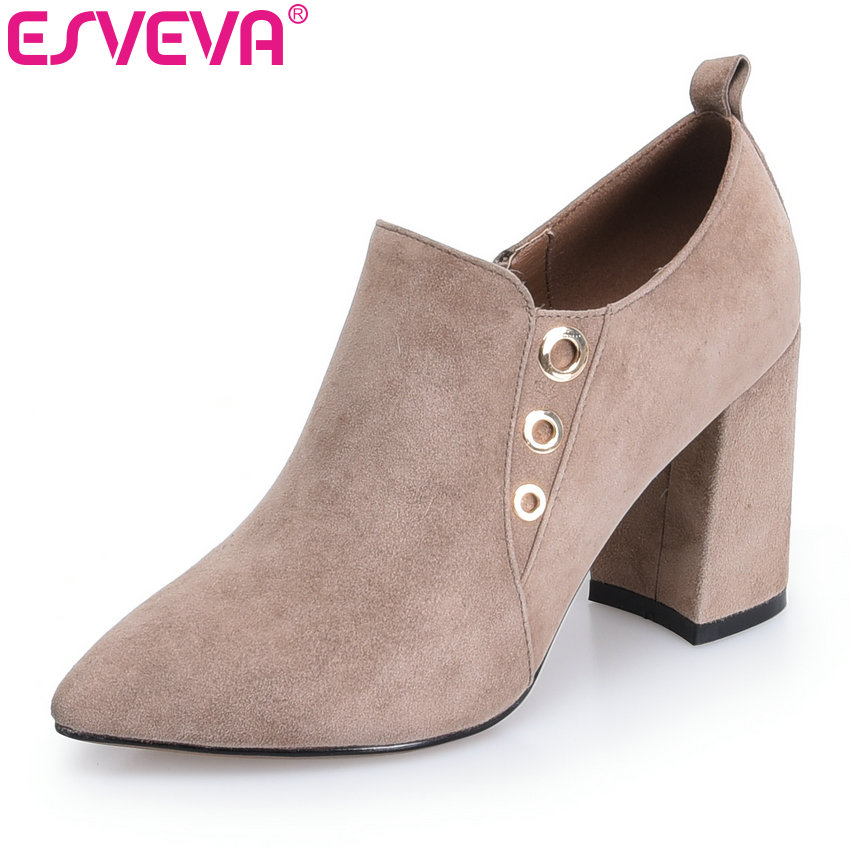 ESVEVA 2018 Pointed Toe Women Boots Western Style Square High Heels Ladies Ankle Boots kid suede fashion shoes black Size 34-39 esveva 2018 women boots elegant square high heels pointed toe ankle boots appointment lining warm fur pu ladies shoes size 34 39