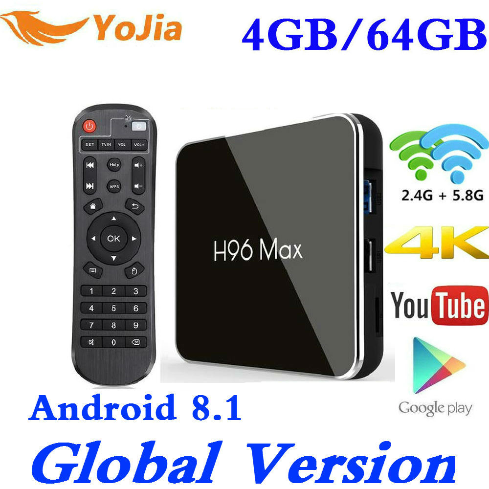 4 GB RAM 64G Android 8,1 caja de TV H96 MAX X2 Amlogic S905X2 Smart 4 K Media Player 2,4G y 5G Wifi PK X96max H96MAX Set Top Box Youtube