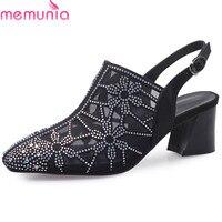 MEMUNIA 2019 high quality slingback pump women shoes Rhinestone square heels summer shoes buckle party wedding shoes woman