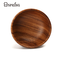 Natural Hand Made Wooden Salad Bowl Classic Large Round Acacia Wood Salad Soup Dining Bowl Plates Premium Wood Kitchen Utensils