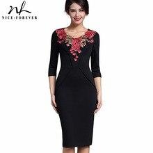 Nice-forever Elegant Applique Flower embroidery V-neck Office Dress Bodycon Female 3/4 Sleeve Sheath Vintage Women Dress B330